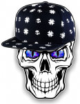 GOTHIC Hip Hop SKULL With BLUE Evil Eyes and Rapper Cap Motif External Vinyl Car Sticker 100x78mm